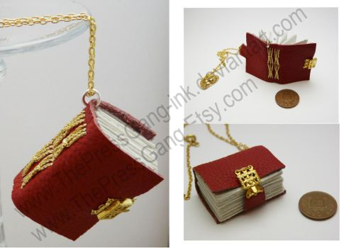 Red real leather book necklace with gold clasp by ThePressGang-ink