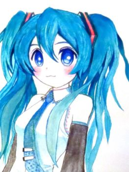 Watercolor: Miku Hatsune by vt2000
