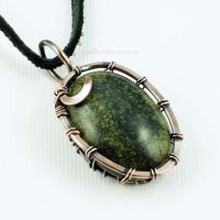 Copper and Serpentine Wire Wrapped Pendant by Gailavira