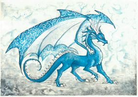 Menacing blue dragon by ElenaZambelli