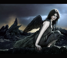 Black Winged Angel by NatsPearlCreation