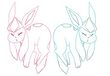 Lineart Color Glaceon by ChibiConan