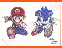 Mario And Sonic (pointillism) by Estrella-Night