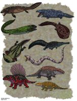 Tiktaalik and Ancient Amphibians by HellraptorStudios