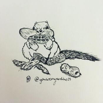 Inktober Day Nine~ A Chipmunk and his Stash by DixieLuve