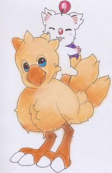 Chocobo and Moogle Combo by MissMercyJust