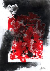 Breaking the Frame - Charcoal and red ink. by zilekondic