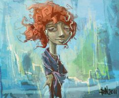 girl on street sketch by raynoa