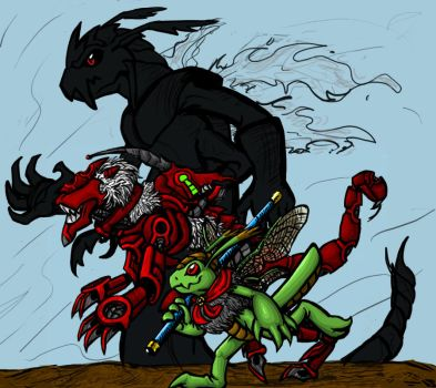 Dragofymon and the Red Chimera by cupil