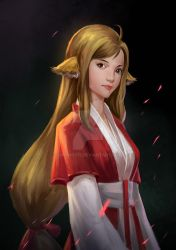 Girl with Fox Ears in Red and White Kimono by QHLing575