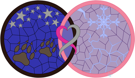 C Night Ice Couple's Stained Glass by Beadedwolf22