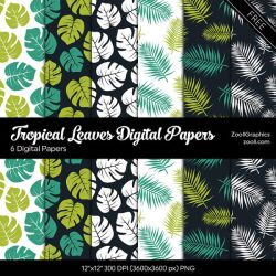 Tropical Leaves Digital Papers by MysticEmma