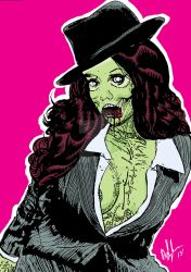 Zombie Natalia Oreiro line work (Color) by PeterVsAll