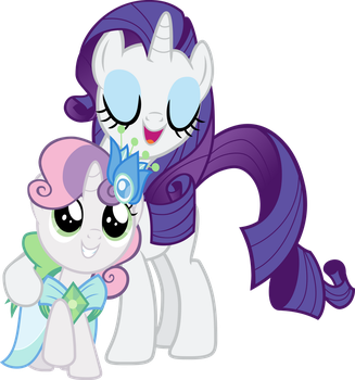 Rarity embracing Sweetie Belle by Pilot231