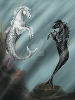 Mermaid horses by SynligSprinkler
