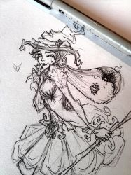 Adenora sketch for All hallows Eve  poster by made-me-a-monster