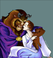 Beauty and the Beast - Oekaki by QuiltedPanda