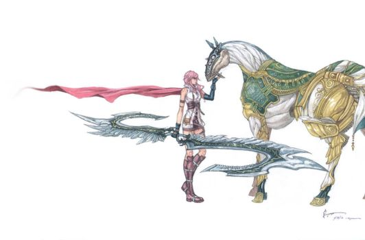 Final Fantasy XIII: Lightning and Gestalt Odin by Nick-Ian