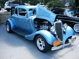 1934 Ford V8 5 Window Coupe with Blue Flames by RoadTripDog