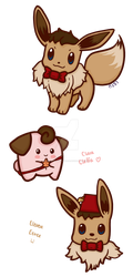 Eevee and Cleffa by LetsSaveTheUniverse