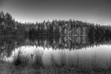 black and white lake by nystep