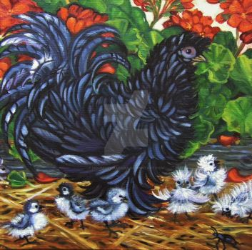 Frizzled Hen with Chicks Among the Geraniums by HouseofChabrier