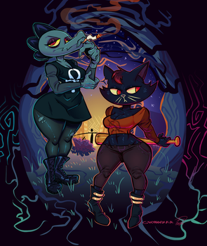 Night In The Woods Bea And Mae by grillhou5e