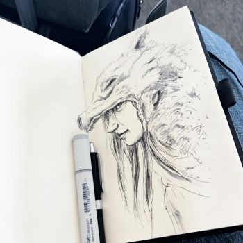 Wolf girl, airport terminal sketch by leversandpulleys