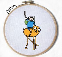 Simple Finn and Jake Cross stitch pattern by JuliefooDesigns