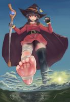 Under the foot of Megumin by Iodain