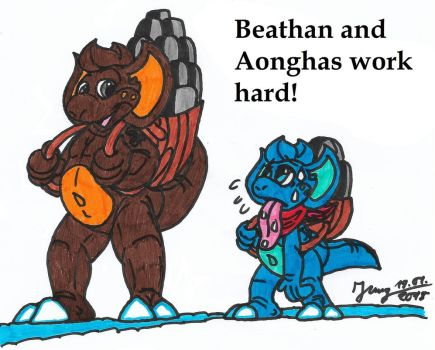 Beathan and Aonghas work hard by HeinztheBlueGiant