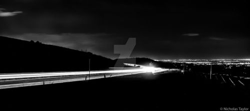 Green Mountain Light Trails BW by ntaylor1981