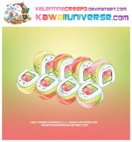 Kawaii Rainbow Sushi Roll by KawaiiUniverseStudio