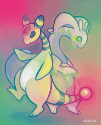 Ampharos and Goodra by kittehmeow