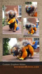 Custom Gryphon Kitten Art Doll by WormsandBones