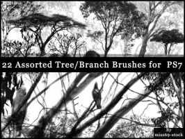 Tree and branch brushes by miss69-stock