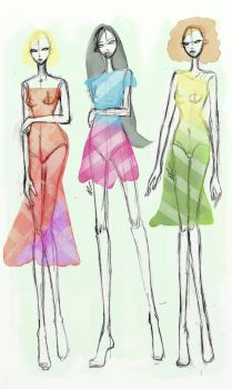 Tablet Watercolor Tests - Fashion Illustration 01 by EmmelineLouiseCox