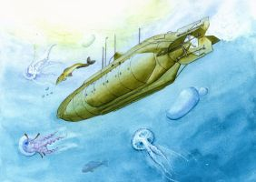 Submarine and Jellyfish by sophielegrand2013