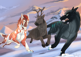 Hunting caribou by Barkyn