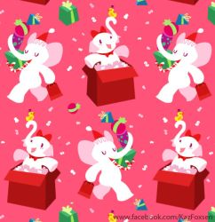 Kawaii Cartoon X-mas White Elephant Party Pattern by KazFoxsen
