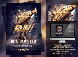 Halloween Zombie Party | Gold Flyer Template by RomeCreation