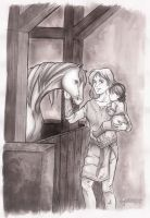 Glorfindel introduces Estel to Asfaloth by Miyucchi