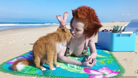 Kitty kiss on the beach by Lynxander