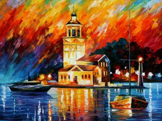 Romantic harbor by Leonid Afremov by Leonidafremov