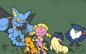 Pokemon Team -Flat Color- by HeavenlyCondemned