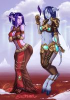 Moonkin and Draenei by szienna