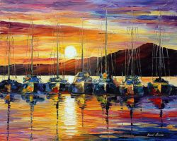 California Harbor by Leonid Afremov by Leonidafremov