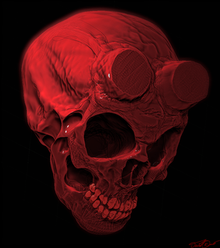 Hellboy skull by cinemamind