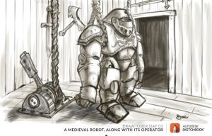 Drawtober Day 01 -  A Medieval Robot by radioactiveroach