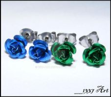 Blue and Green Rose Studs by 1337-Art